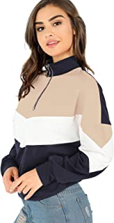 Women's Long Sleeve Color Block Zip Up Sweatshirt Pullover Tops
