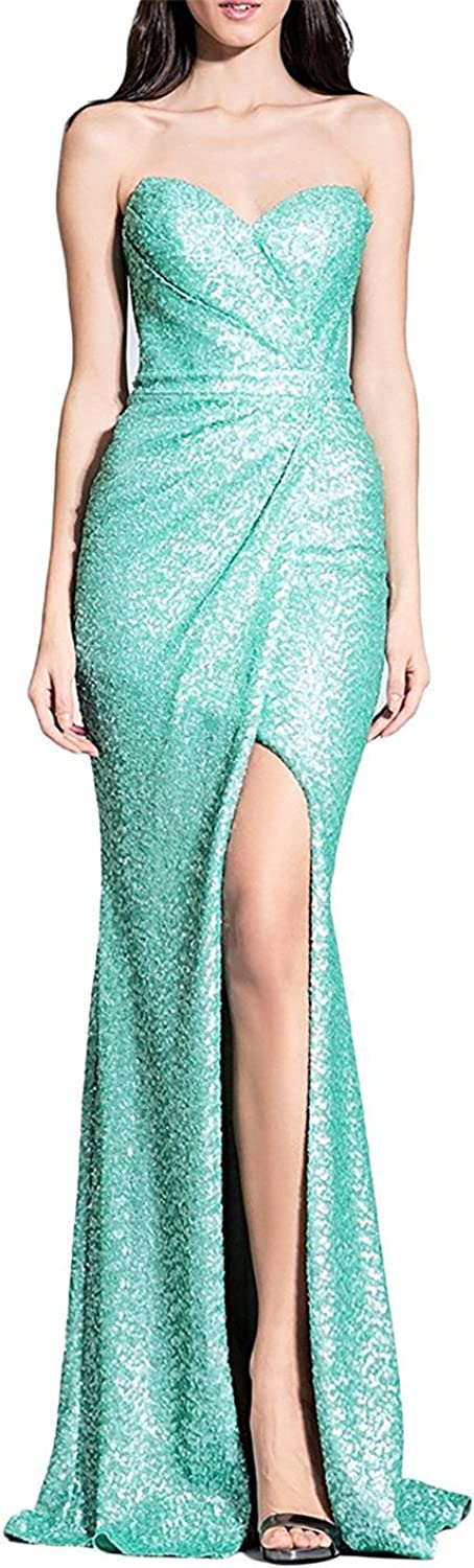 EverBeauty Womens Sequined Sweetheart Mermaid Prom Dress Long Evening Gown with Slit