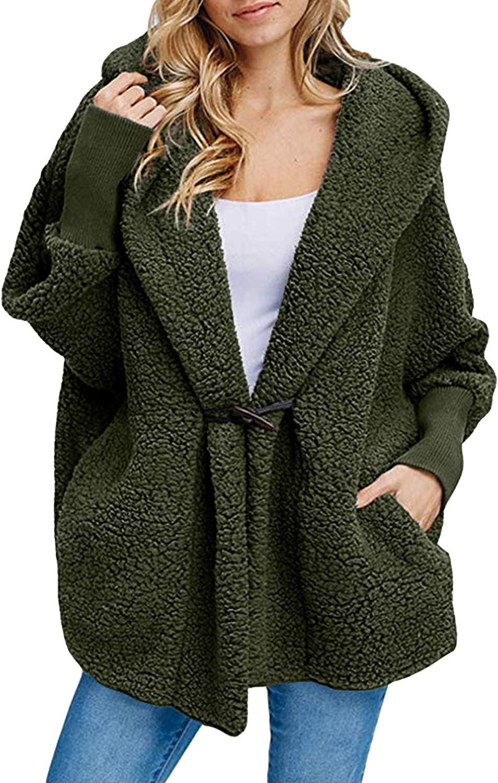 CHERFLY Women's Fuzzy Fleece Jacket Hooded Fluffy Long Sleeve Coat with Pockets