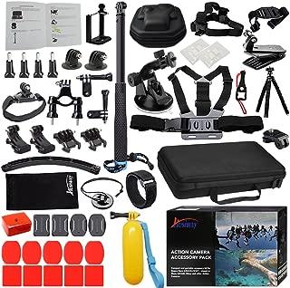 Kit for GoPro Accessories Session Hero 8 7 6 5 Go Pro Equipment Case Bundle Bag Pack - Selfie Stick Pole Tripod EVA case Suction Cup by Action Camera Kit 13L