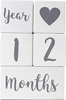 Baby Milestone Blocks | Pregnancy Baby Newborn Toddler Weekly Monthly Yearly Age | Premium Solid Wood Boys Girls Photo Props | Perfect Baby Shower Gift | Gender Neutral Keepsake for Photo Sharing