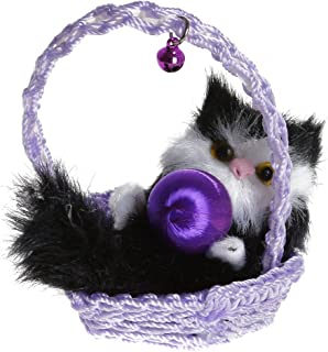GUAngqi Lifelike Little Sleeping Cat Pet with Cloth Mat Bucket Basket Plush Toy Animal Ornaments,Purple basket + black cat