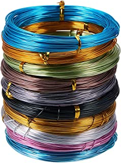 PandaHall Elite 10 Rolls Aluminum Craft Wire 18 Gauge Flexible Artistic Floral Jewely Beading Wire 10 Colors for DIY Jewelry Craft Making Each Roll 65 Feet