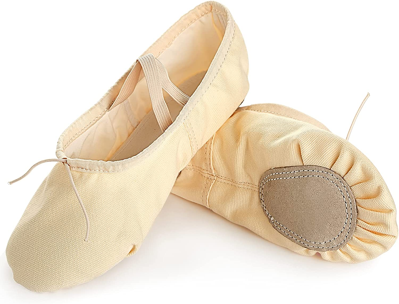 Ballet Shoes for Women Girls Canvas Dance Shoes Ballet Slipper Yoga Shoes Split Sole Flats (Beige, Numeric_4_Point_5)