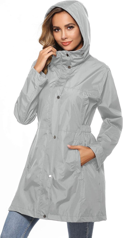 Avoogue Raincoat Women Waterproof Rain Jacket Outdoor Active Hooded Mesh Lining S-XXL