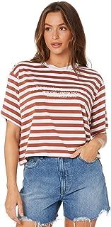 Stussy Women's Cyrus Stripe Tee Crew Neck Short Sleeve Cotton Jersey