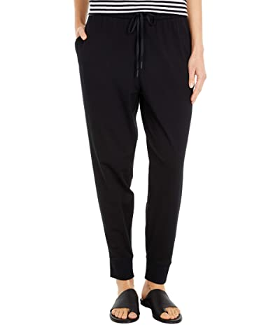 Eileen Fisher Organic Cotton Stretch Jersey Slouchy Ankle Joggers (Black) Women