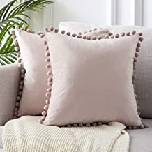 Topfinel Decorative Throw Pillow Covers 18 x 18 Inch Soft Particles Velvet Solid Cushion Covers with Pom-poms for Couch Be...