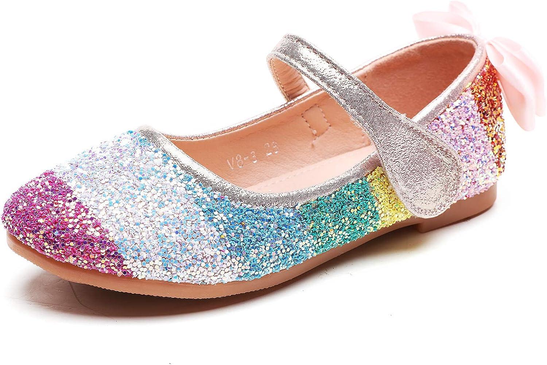 Minibella Girl's Rainbow Glitter Ballet Flats Jane Princess Mary Popularity Elegant