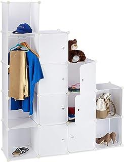 Relaxdays Étagère cubes rangement penderie armoire 12 compartiments plastique modulable HxlxP: 145,5 x 145,5 cm, blanc