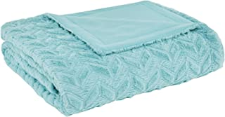 Intelligent Design Laila Oversized Faux Fur Chevron Pattern Plush Throw Blanket, Twin/Twin XL, Aqua