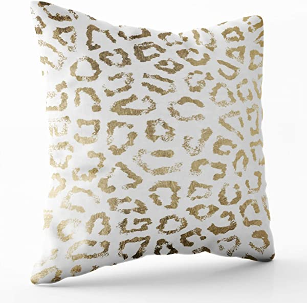 Shorping Zippered Pillow Covers Pillowcases 18X18 Inch Simple Modern White Chic Faux Gold Cheetah Print Decorative Throw Pillow Cover Pillow Cases Cushion Cover For Home Sofa Bedding