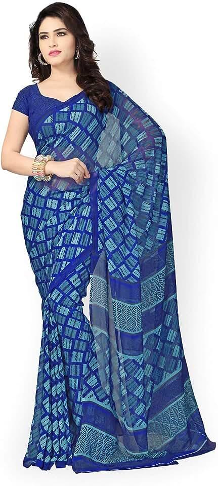 Indian Vaamsi Georgette Saree with Blouse Piece (Vega3096C_Blue_One Size) Saree