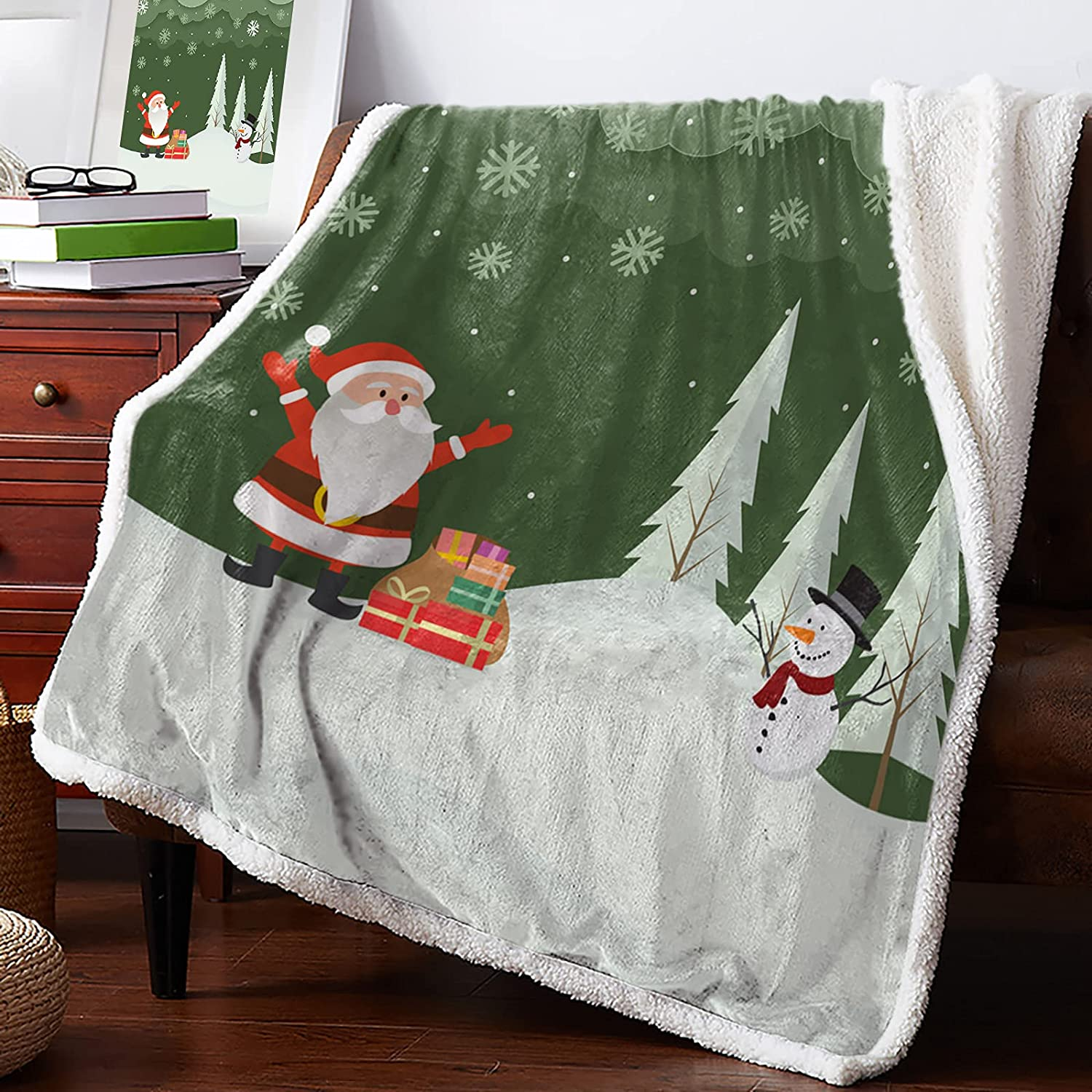 MuswannaA Sherpa Fleece Throw Max 90% OFF Blanket Santa and S online shop Snowman in The