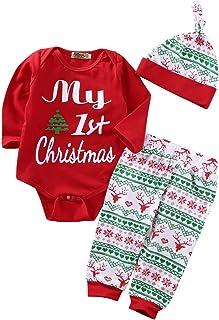 Eghunooye Weihnachten Babykleidung Junge Mädchen Set Langarm Strampler Top mit My First Christmas Aufdruck Hirsche Druck Hose Mütze Outfits