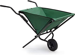 Relaxdays Foldable Wheelbarrow 66 x 64 x 112 cm Folding Barrow Cart of Steel with Strong Polyester, Space-Saving Garden Ca...