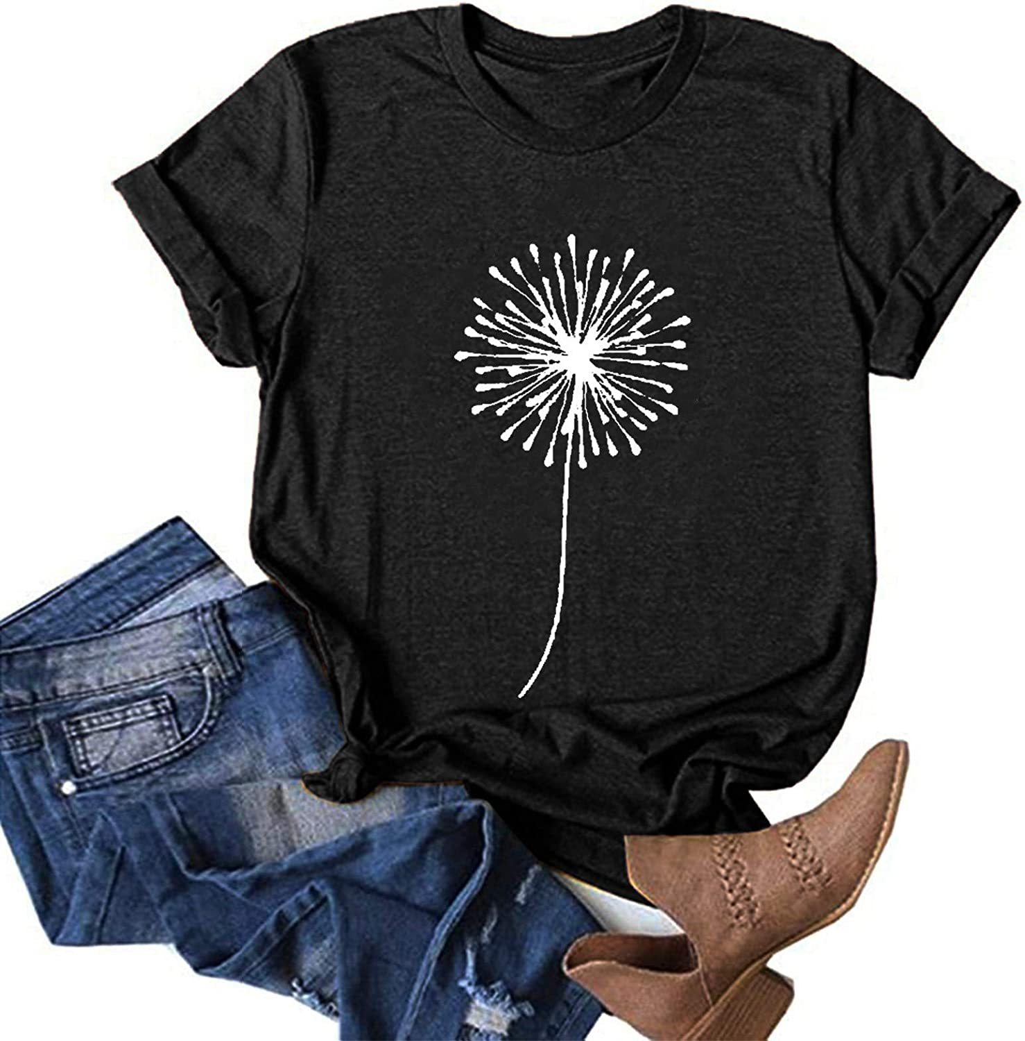 naioewe Shirts for Women Sexy Shirts for Women Fashion Round Neck Plus Size Sunflower Print Tee Shirt Casual Short Sleeve T-Shirt Top Blouses Orange