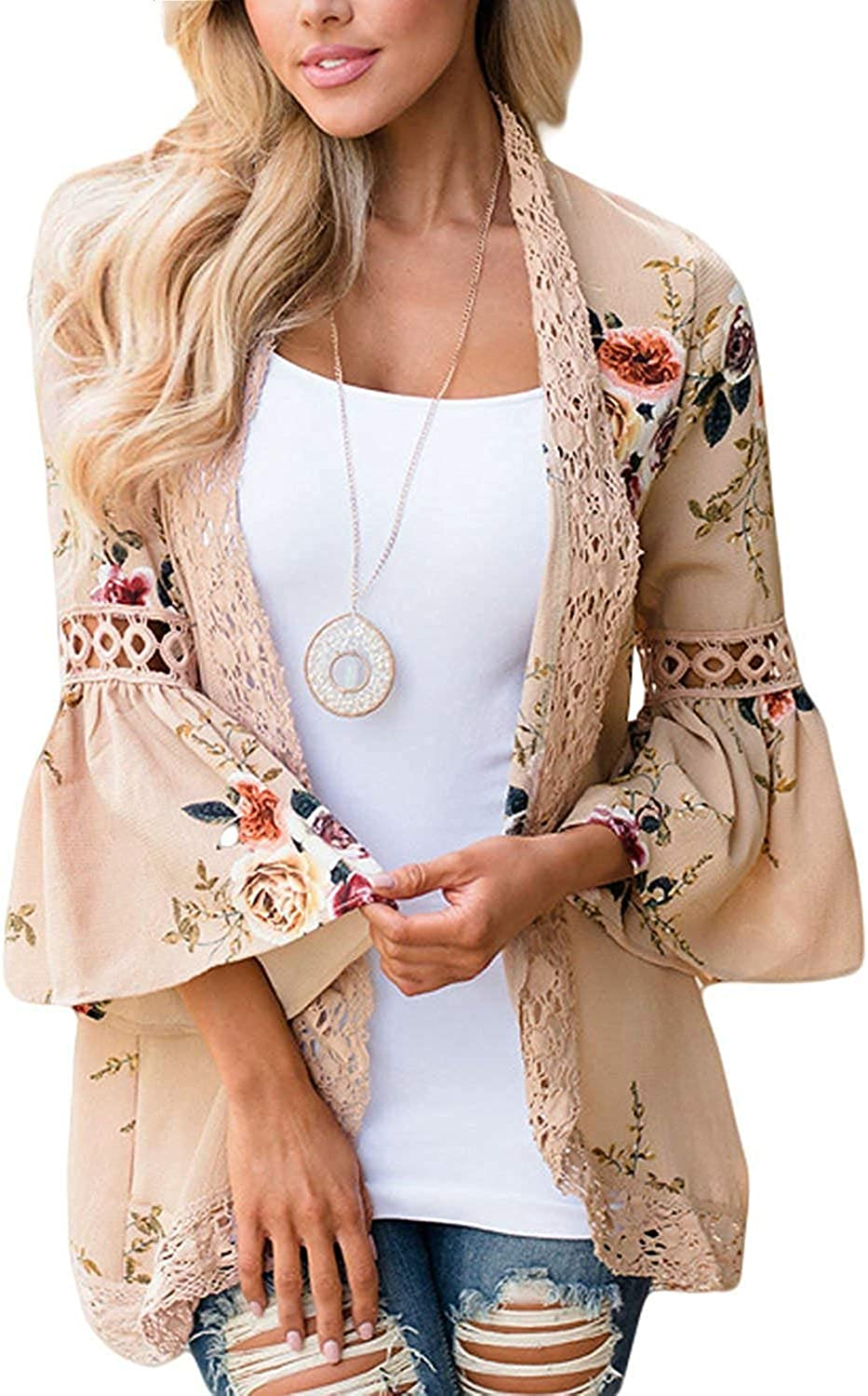 Womens Lace Kimono Cardigan Floral Summer Tops Loose Casual Open Front Shawl Beach Cover ups