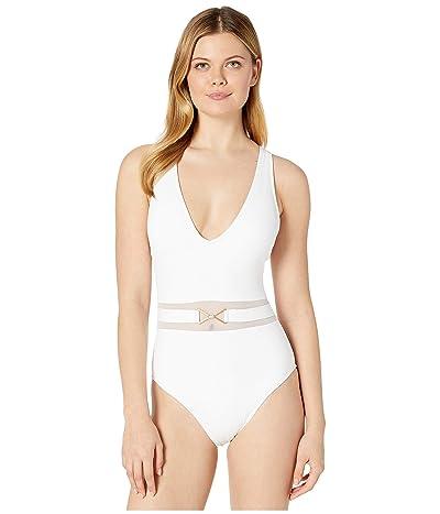 La Blanca Mesh-Merizing Belted Plunge Mio One-Piece (White) Women