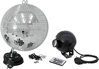 Eurolite spiegelkogelset 30 cm met RGB-spot FB LED-set bestaande uit motor, spiegelbal, ketting, gekleurde spot & afstands...