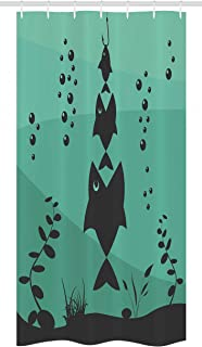 Ambesonne Fishing Stall Shower Curtain, Big Fish Eats Little Small in Bubbles Underwater Ocean Symbolic Food Theme, Fabric Bathroom Decor Set with Hooks, 36