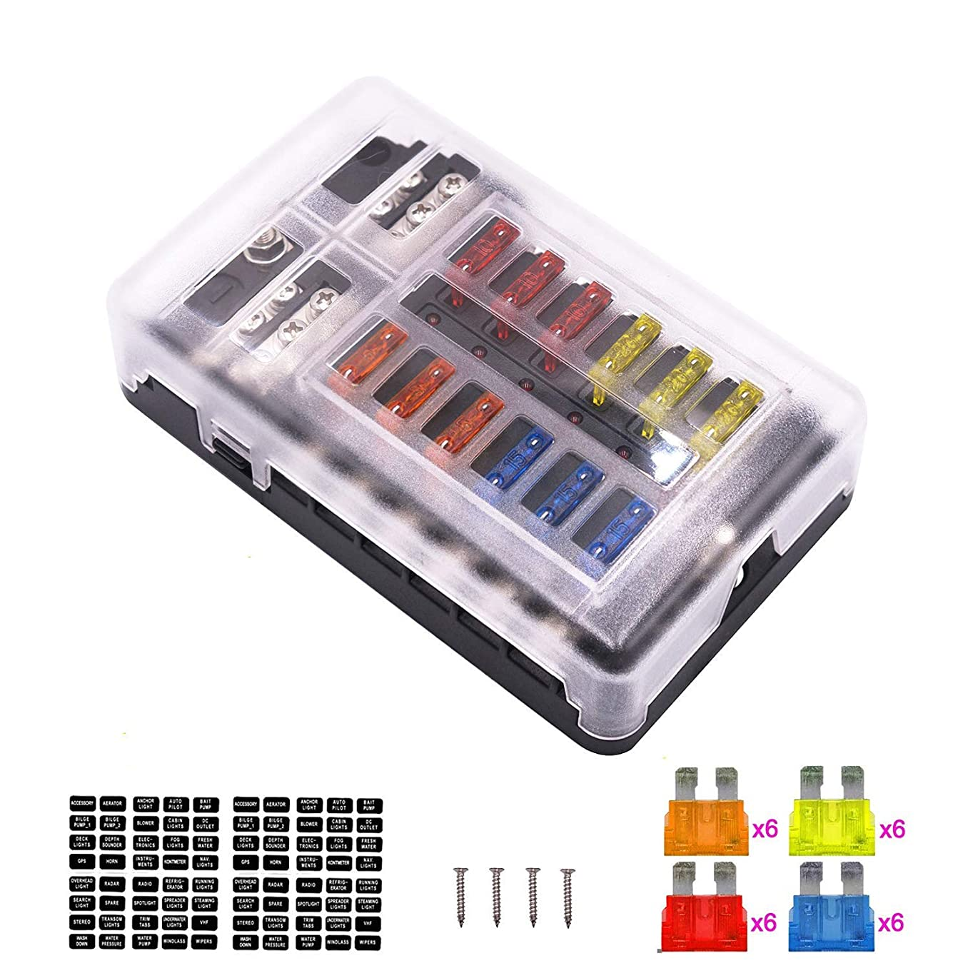 12-Way Fuse Box Blade Fuse Block Holder Screw Nut Terminal W/Negative Bus 5A 10A 15A 20A Free Fuses LED Indicator Waterpoof Cover for Automotive Car Marine Boat