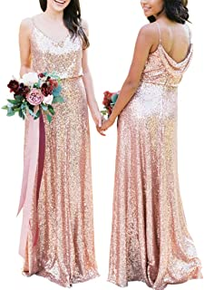 JONLYC A-Line Spaghetti Straps V-Neck Sequin Long Bridesmaid Dresses Evening Gowns