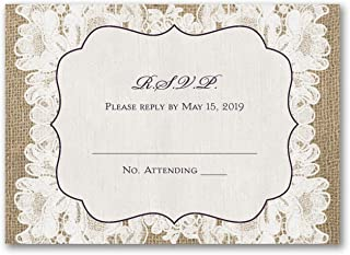 25pk Weathered Lace - Response Card and Envelope-Vow Renewal Invitations