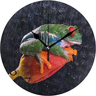 SALLYLOU Wall Clocks Battery Operated Non Ticking, Frog Eye Red Tulip Animal Round Decorative Living Room Wall Clock