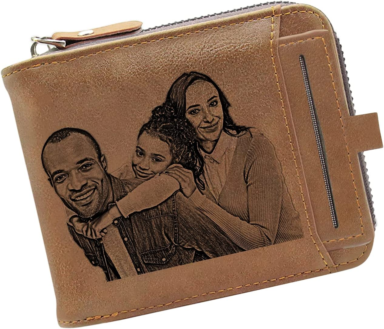 Personalized Engraved Wallet, Custom Leather Photo Wallet Customized Zipper Wallet for Father's Day, Christmas Day Gift