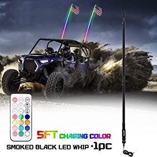 Beatto 5FT(1.5M) Smoked Black RF Remote Controll RGB LED Whips Light With Dacning/Chasing Light LED Antenna Light For Off- Road Vehicle ATV UTV RZR Jeep Trucks Dunes