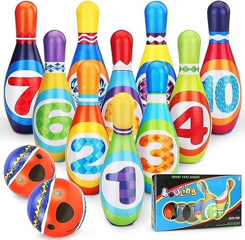 YIMORE Jeux de Quilles avec 2 balles en Mousse 10 Broches de Bowling Plein Air Jouet Cadeaux pour Enfants Garcon Fill...