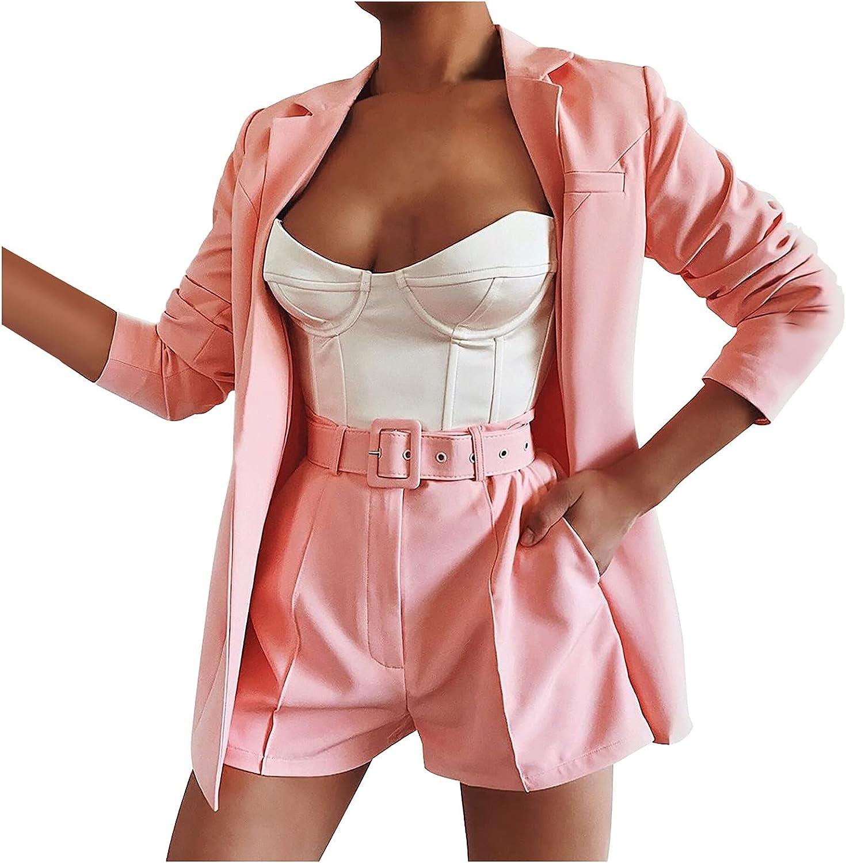 Misaky Women's 3-piece Set Jacket Shorts Suit Suit Sexy Temperament Fashion Casual Lapel Cardigan