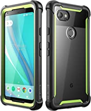 i-Blason Case for Google Pixel 2 XL 2017 Release, [Ares] Full-Body Rugged Clear Bumper Case with Built-in Screen Protector(Black/Green)