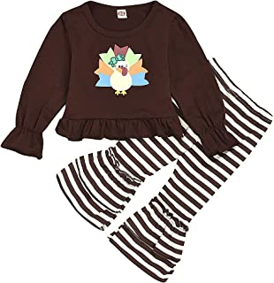 Muasaaluxi Kid Baby Girls Thanksgiving Outfits Ruffled Long Sleeve Turkey Tops Blouse Striped Pants Leggings Set