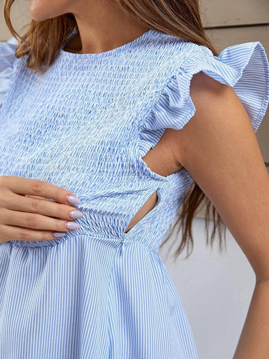 Shreem85 Maternity Save money Import Dress Shirred Nursing Waist Detail