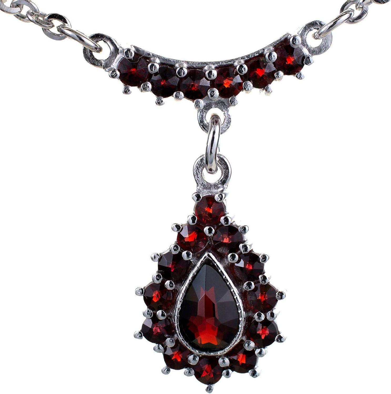 ZIKLARS Bohemian Garnet Charlotte Trust Mall 925 Necklace Silver Teardrop Sterling