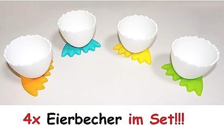 Preisvergleich für 4X lustige Eierbecher mit Füßen Ei Kunststoff Frühstücksei Chicken Egg Cups