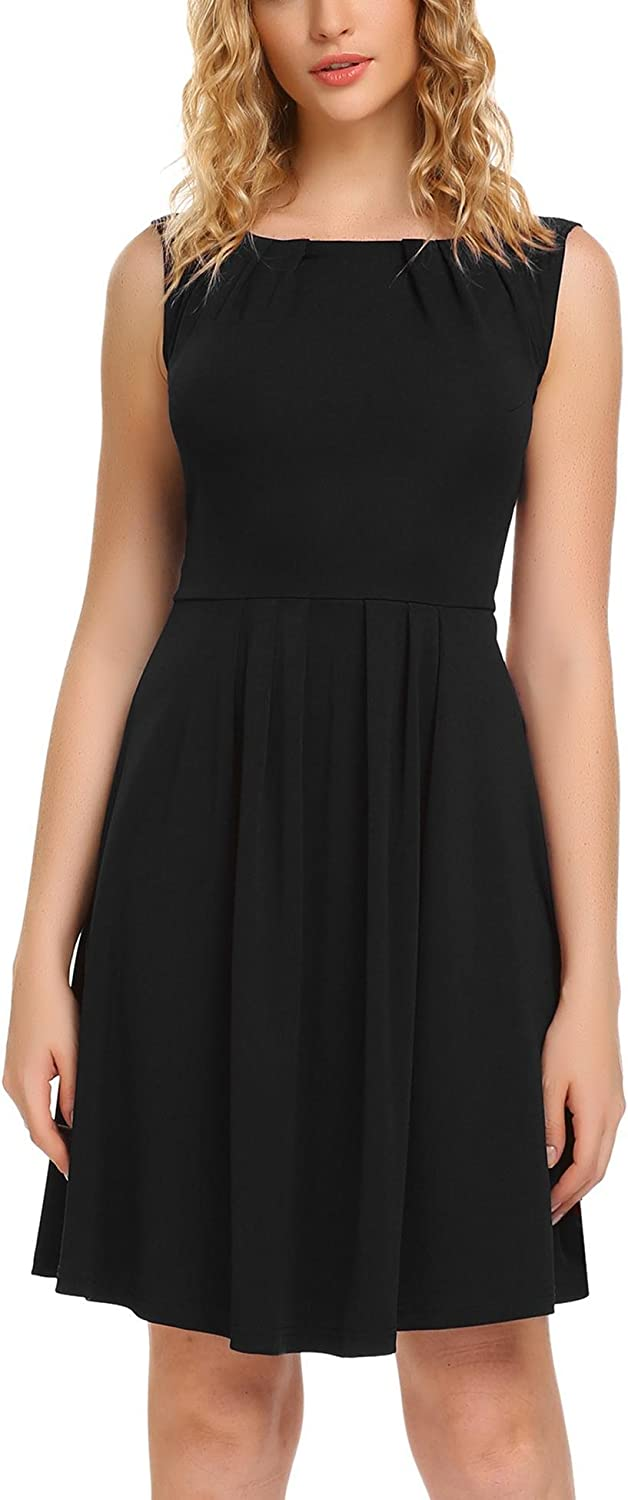 ANGVNS Women Sleeveless Draped Lace Work OL Cocktail Party Pleated Dress Black Small