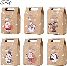 CCINEE 12 PCS Christmas Kraft Paper Bags, Kraft Cookies and Candy Bags Santa Claus Reindeer Xmas Folding Kraft Bags for Kids Party Favor Holiday New Year