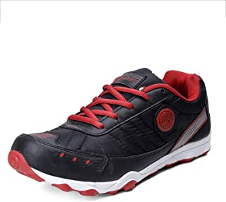 Bacca Bucci Mens's Casual Sports Trainers Fitness Flat Running Athletic Competition Sneakers-Red/Black