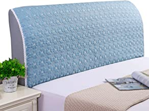 Bed Head Protector Cover Solid Color Bedroom DecorationPolyester Fiber Elasticity Bed Headboard Cover (Color : Blue, Size...