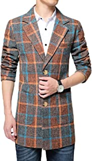 Men's Casual Notched Lapel Single-Breasted Plaid mid-Length Trench Coat,Mens Casual Blazer Slim Fit Tweed Check Jacket Pla...