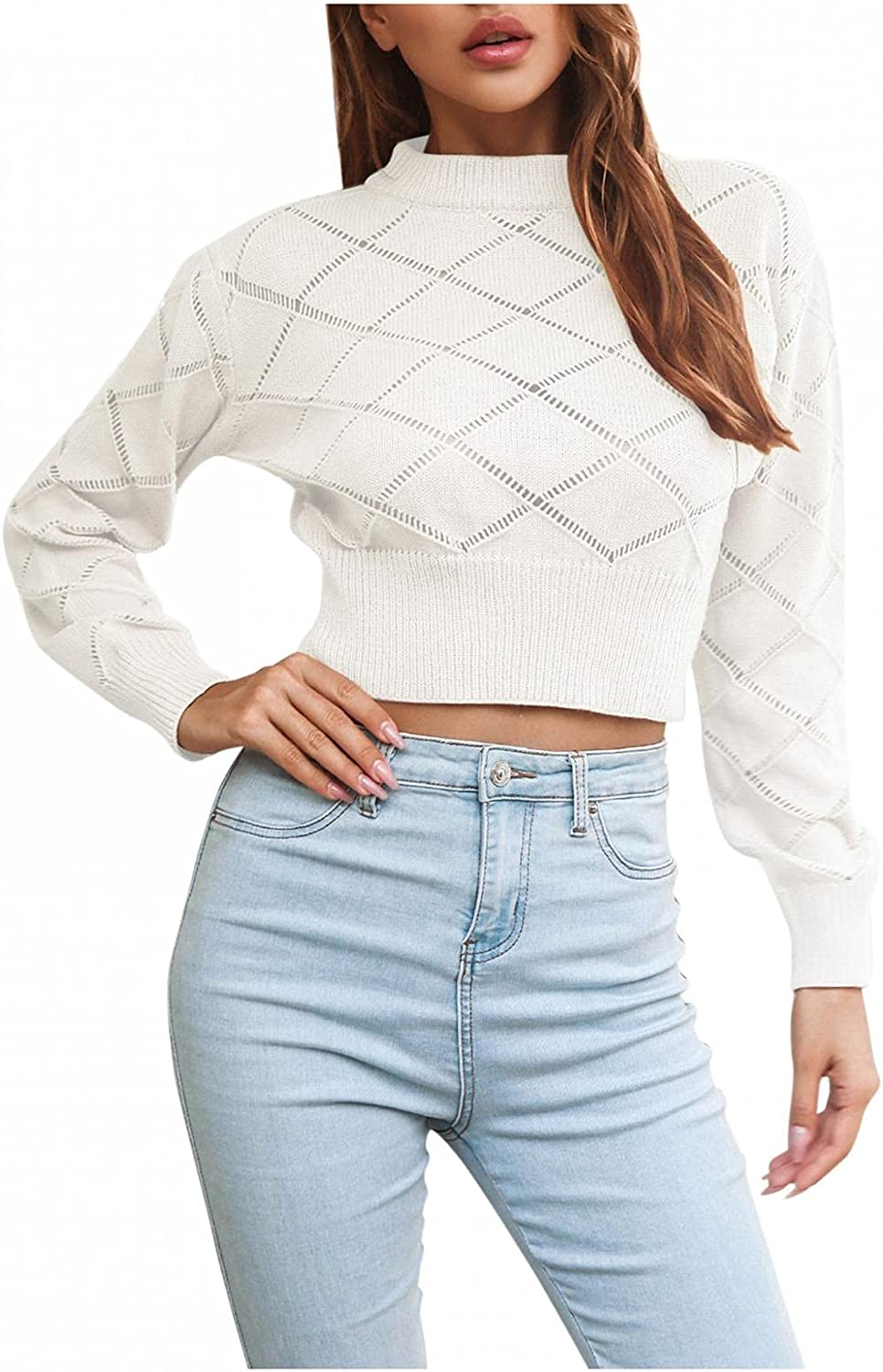 Xinantime Women's Solid Color Crop Sweater Crewneck Knitted Blouse Ladies Long Sleeve Trendy Winter Shirt Pullover Tops