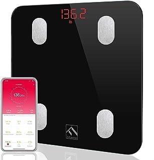 مقیاس چربی بدن بلوتوث، FITINDEX هوشمند بی سیم دیجیتال دیجیتال وزن بدن مقیاس ترکیب بدن مانیتور سلامت مانیتور با iOS و اندیشه APP برای وزن بدن، چربی، آب، BMI، BMR، عضله توده