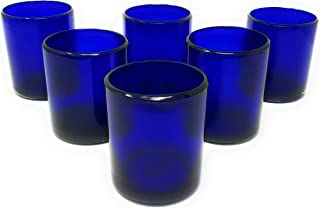 Hand Blown Mexican Drinking Glasses – Set of 6 Cobalt Tumbler Glasses (10 oz each)