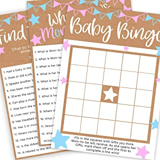 Baby Gender Reveal Games, Gender Reveal Party Games Bundle, Gender Reveal Games Set inc Baby Bingo, Find the Guest & Who Knows Mommy Best, Pack of 3 Games, 25 Cards per Game