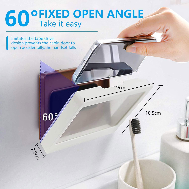 Shower Phone Holder Waterproof Anti-Fog Touch Screen Wall Mount Adhesive Phone Box Case for Shower Kitchen Bathroom Mirror Bathtub (White)