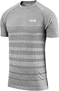 TCA QuickDry Mens Training Top Red Striped Short Sleeve Gym Workout T-Shirt