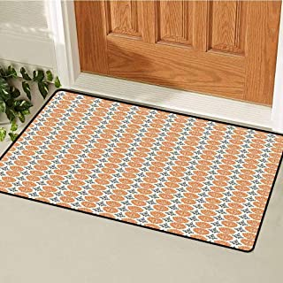 RelaxBear Tattoo Commercial Grade Entrance mat Traditional African and Polynesian Totem Symbols Tribal Mask Pattern for entrances garages patios W23.6 x L35.4 Inch Orange Charcoal Grey Cream